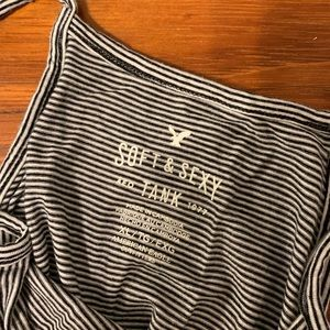 American Eagle Outfitters Tops - barely worn! cropped halter top b&w striped tank